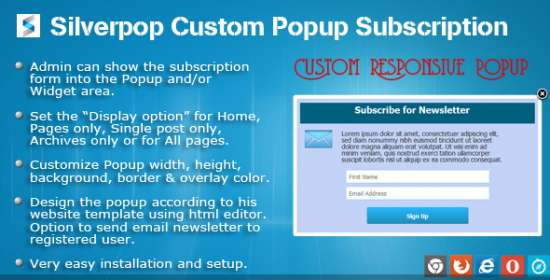 silverpop custom popup registration for wordpress