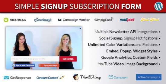 simple signup wordpress newsletter form plugin