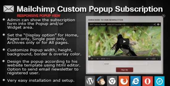 mailchimp custom popup membership for wordpress